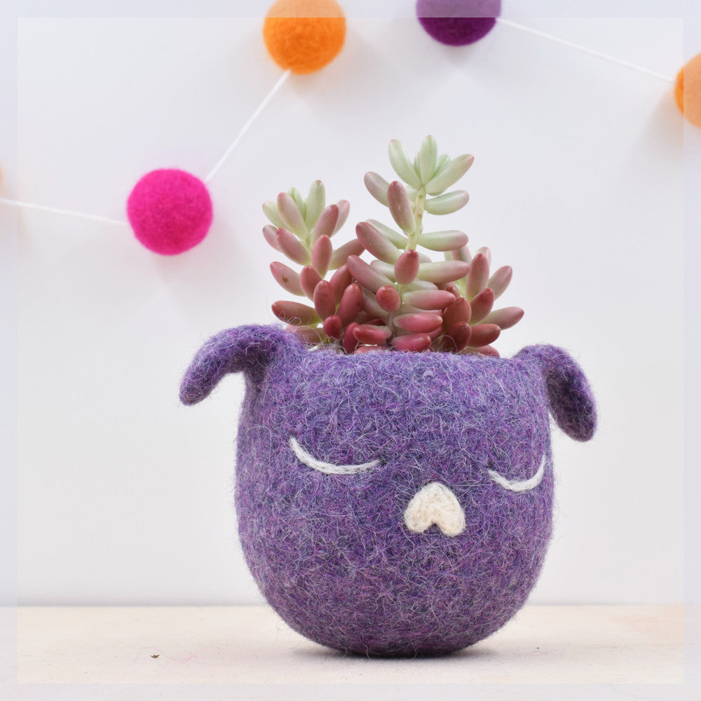 Dorm decor/Succulent planter/Dog lover gift for her/Cactus planter gifts/dog head planter/Small succulent pot/purple planter