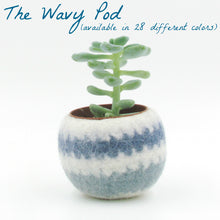 Felt plant vase/felted bowl/Succulent pod/blue waves/succulent planter/gift for girlfriend/7th anniversary gift/desk organizer