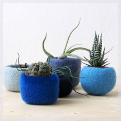 blue home decor/succulent planters/air plant display/Modern planters/Blue felt vases/gift for her/cute cactus planter