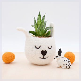 Succulent planter/spring bunny/White Rabbit planter/Felt planter/ indoor planter/Small succulent pot/Easter gift/mother gift