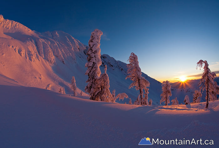 Ymir Bowl sunset, Whitewater Winter Resort backcountry, Nelson, BC, Canada.