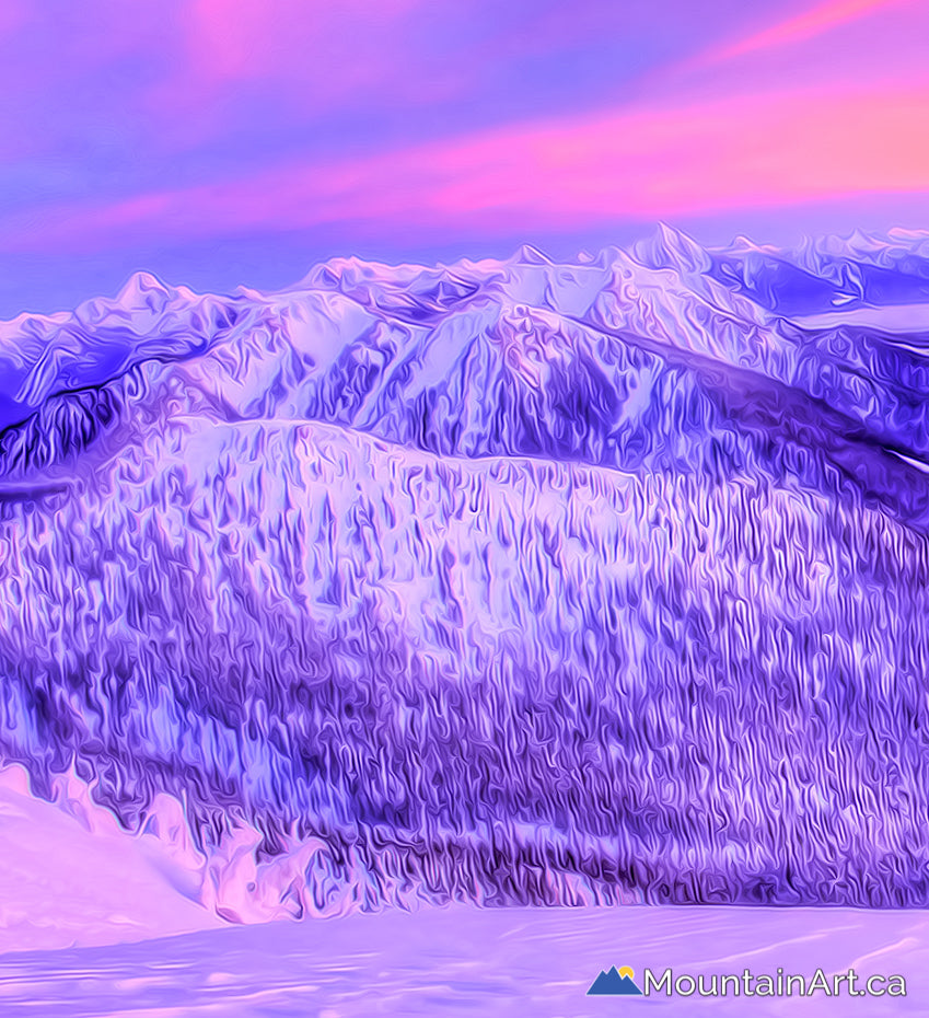vivid painted winter alpenglow sunset in the selkirk mountains kaslo BC