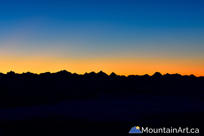 purcell mountains alpenglow before sunrise lardeau bc