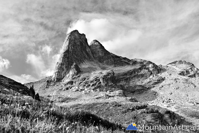 Black and white Mt Gimli towering to the sky, Valhalla Park, BC.