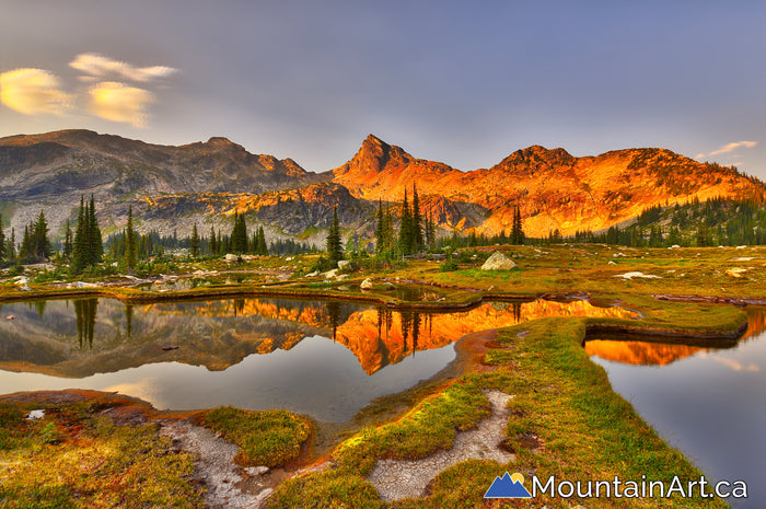 Valhalla Park sunset HDR photo of Gwillim Lakes and Mt Lucifer