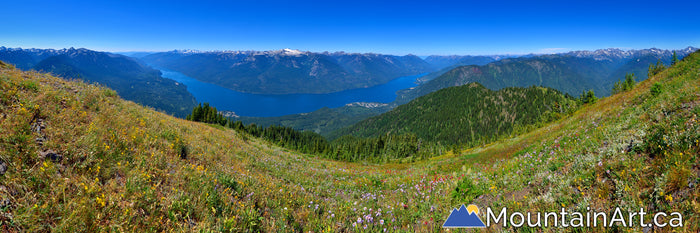 idaho peak wildflower panorama with slocan lake and valhalla park