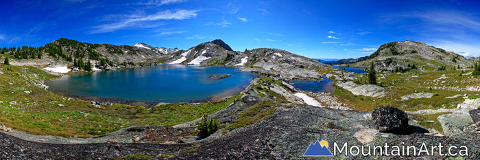 Saphire Lakes alpine of Kokanee Glacier Park panoramic photo