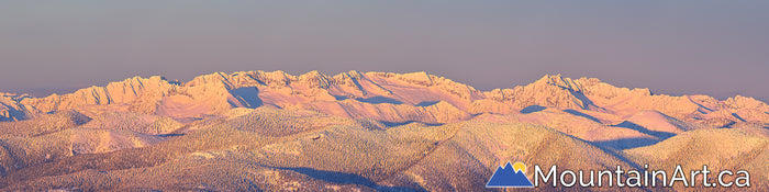 kokanee glacier park winter sunset panorama alpenglow nelson bc