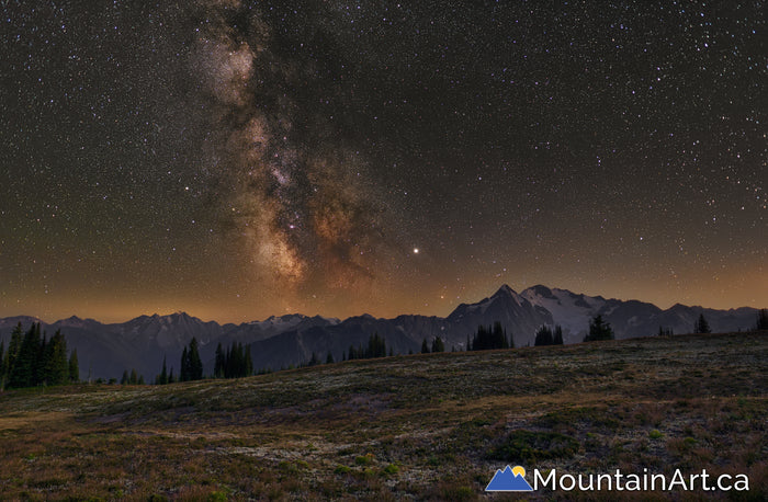meadow mountain mt cooper milky way night selkirk goat range
