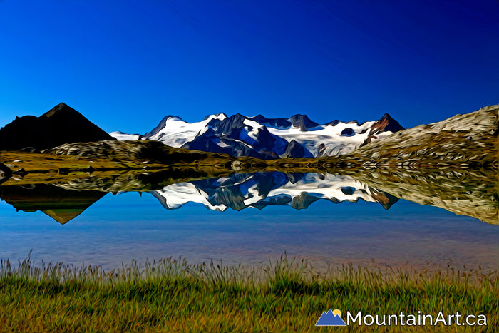 glacier reflections on alpine lake, Monica Meadows, Purcell Mountains, BC
