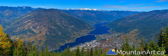 nelson bc autumn colors panoramic photo kootenay lake  kokanee glacier