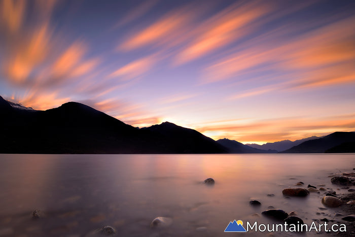 sunset over slocan lake valhalla in new denver bc