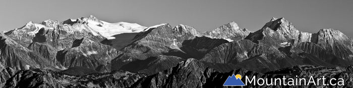 rugged purcell mountains with snow covered peaks glaciers panoramic photo