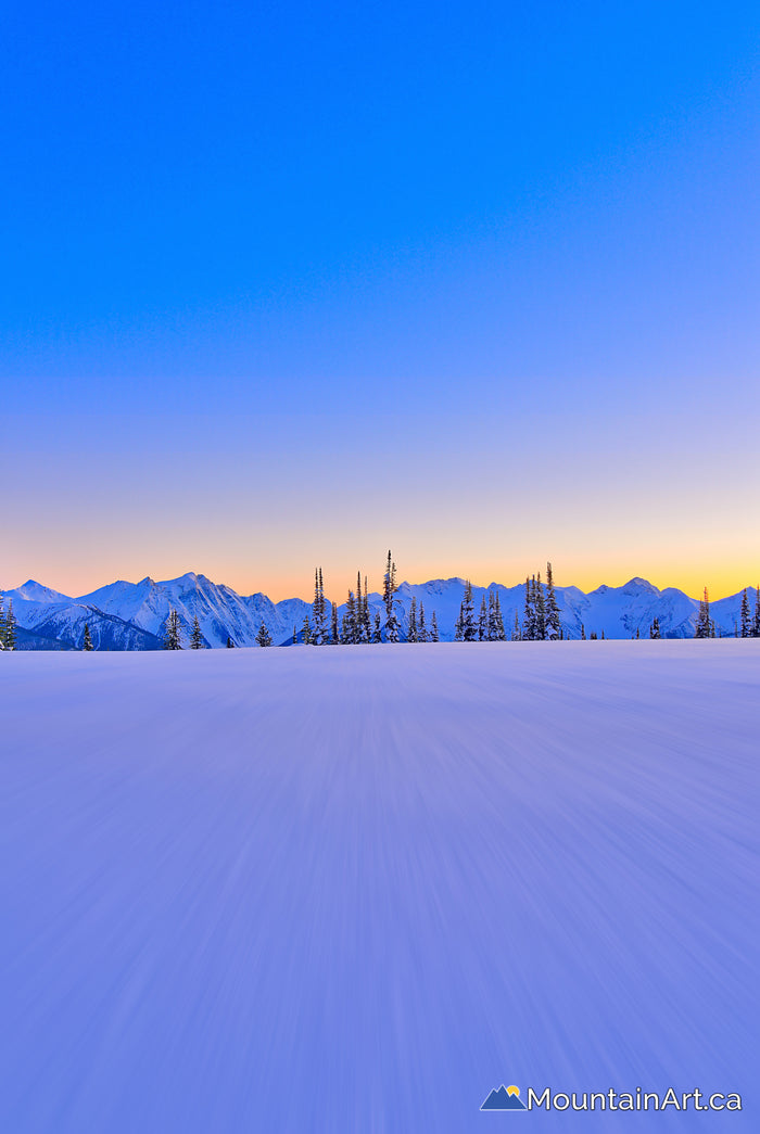 winter alpenglow selkirk mountains blurry snow goat range park bc