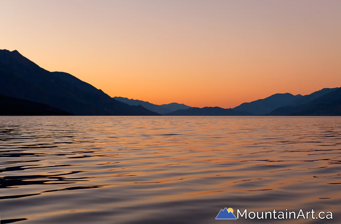 slocan lake colorful sunset from new denver bc canada