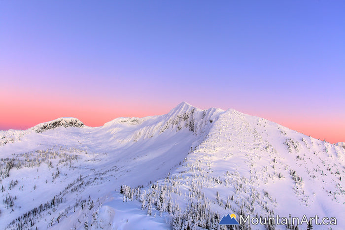 Ymir bowl alpenglow, Whitewater Winter resort, Nelson, BC, Canada