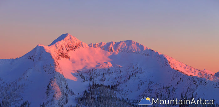 alpenglow sunset panorama on Qua basin, Whitewater backcountry, Nelsopn, BC.