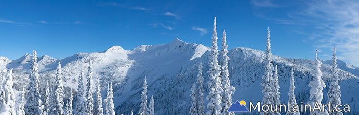 Whitewater Ymir Bowl backcountry winter panorama, Nelson, BC.