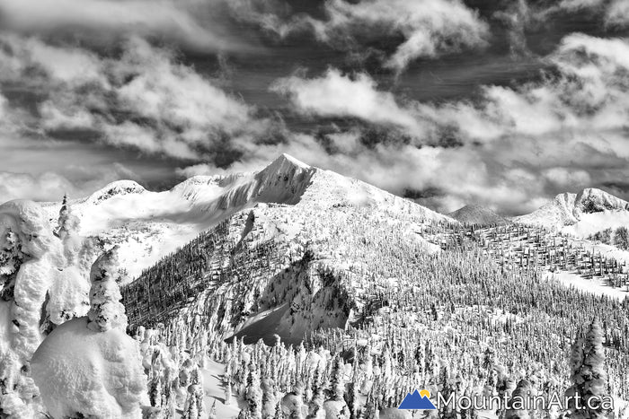 Whitewater ski hill backcountry ymir peak bowl winter black and white