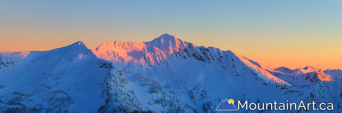 ymir bowl alpenglow panorama of whitewater ski resort backountry nelson bc