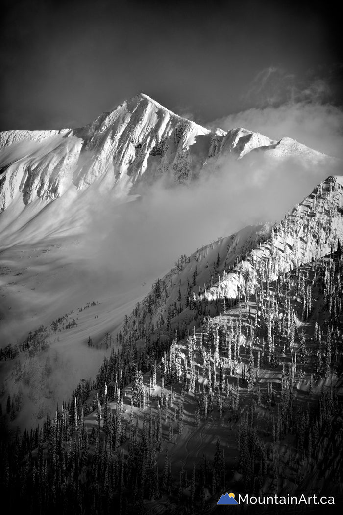 whitewater ski hill ymir peak backcountry black white nelson bc
