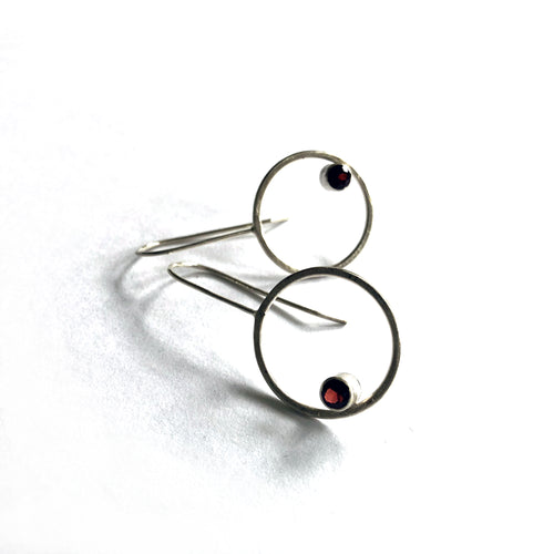 "Eko Wright:(S) Hoop earrings with garnet in sterling silver 1-1/2"" x 3/4"""