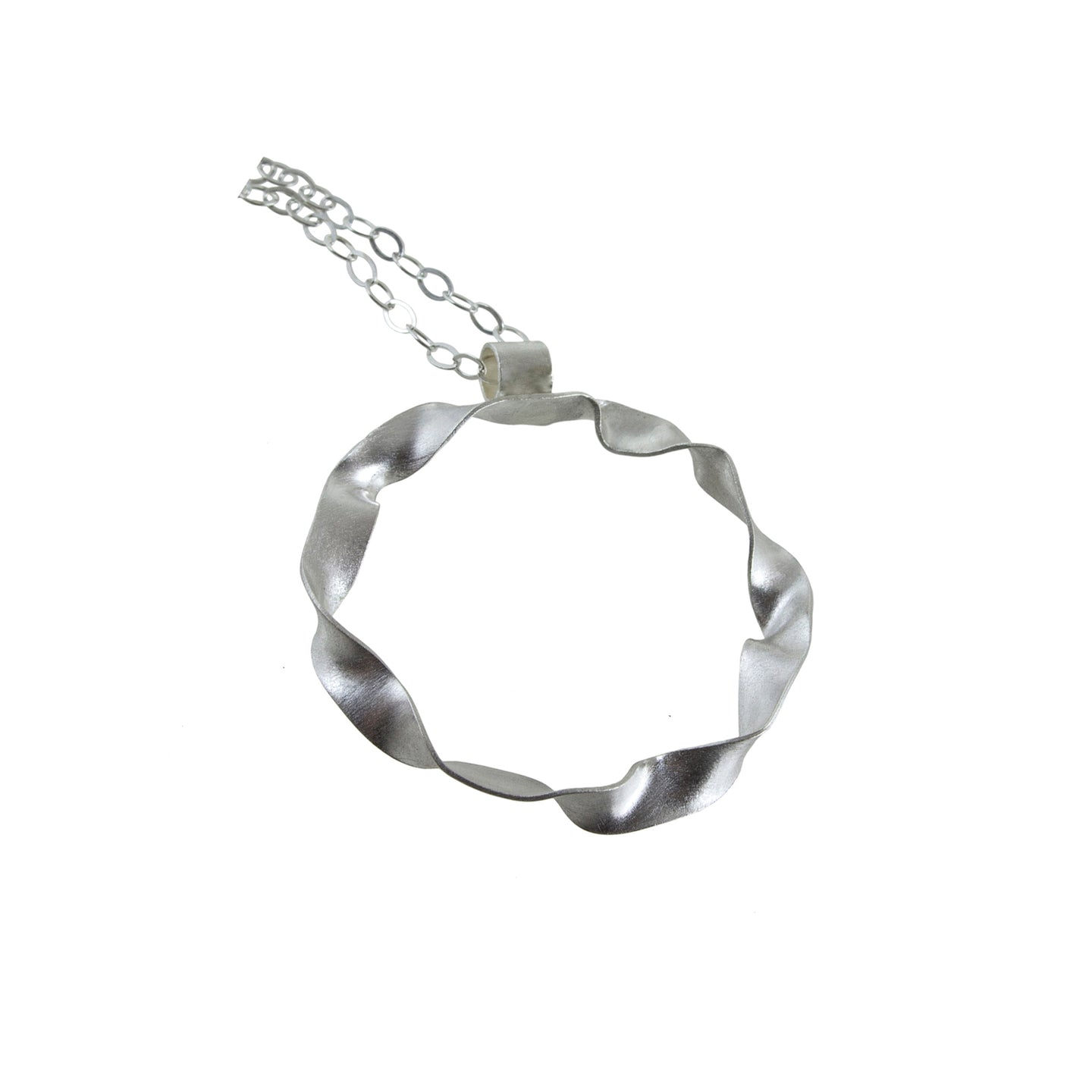 "Eko Wright:(S) Medium size twisted hoop necklace in sterling silver 7/8"" diameter 18"" long"