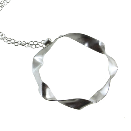 "Eko Wright:(S) Large twisted hoop necklace in sterling silver MSRP:$64 1-1/4"" diameter 18"" long"