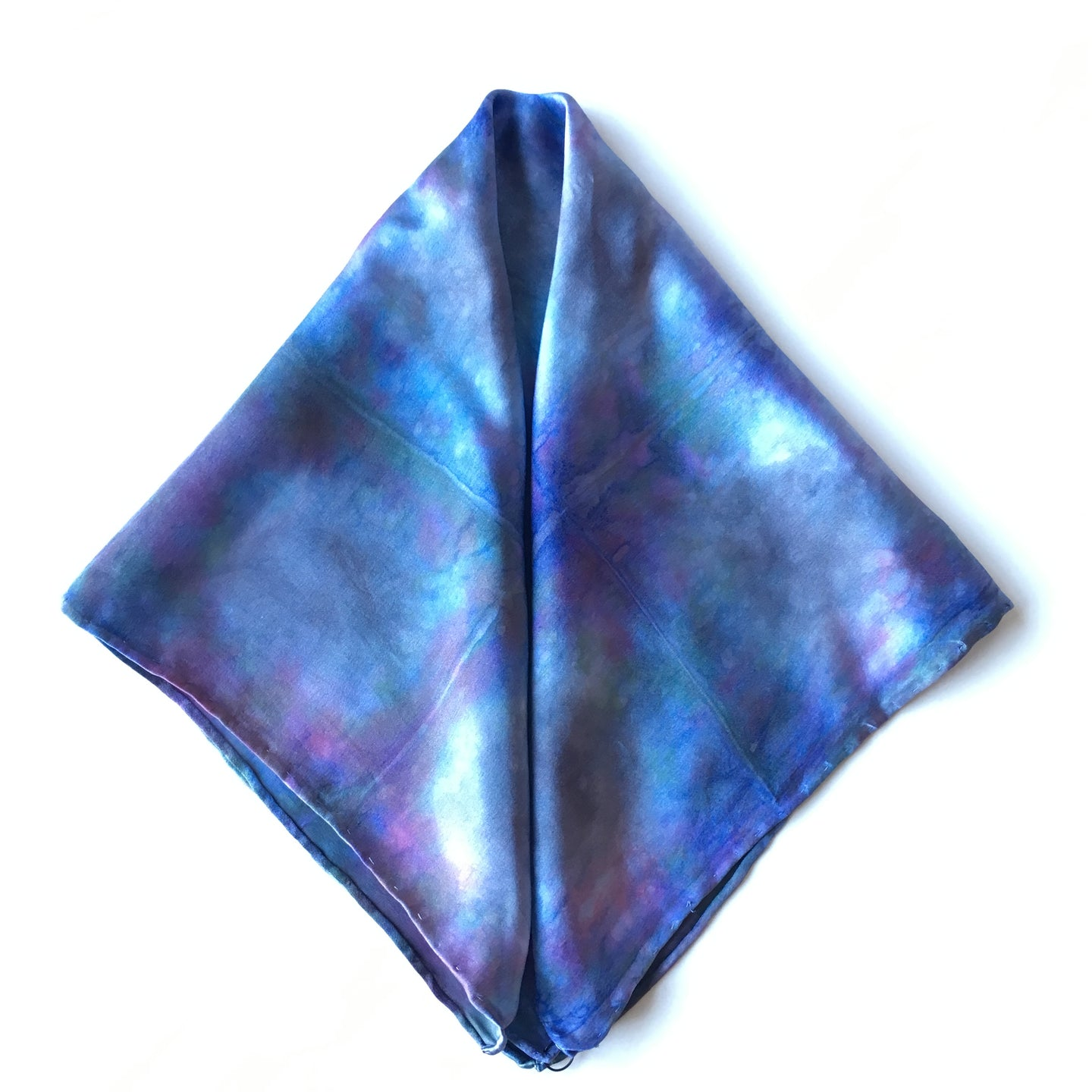 Scarf Spree: Blue Squared Charmeuse Pocket Square 17x17
