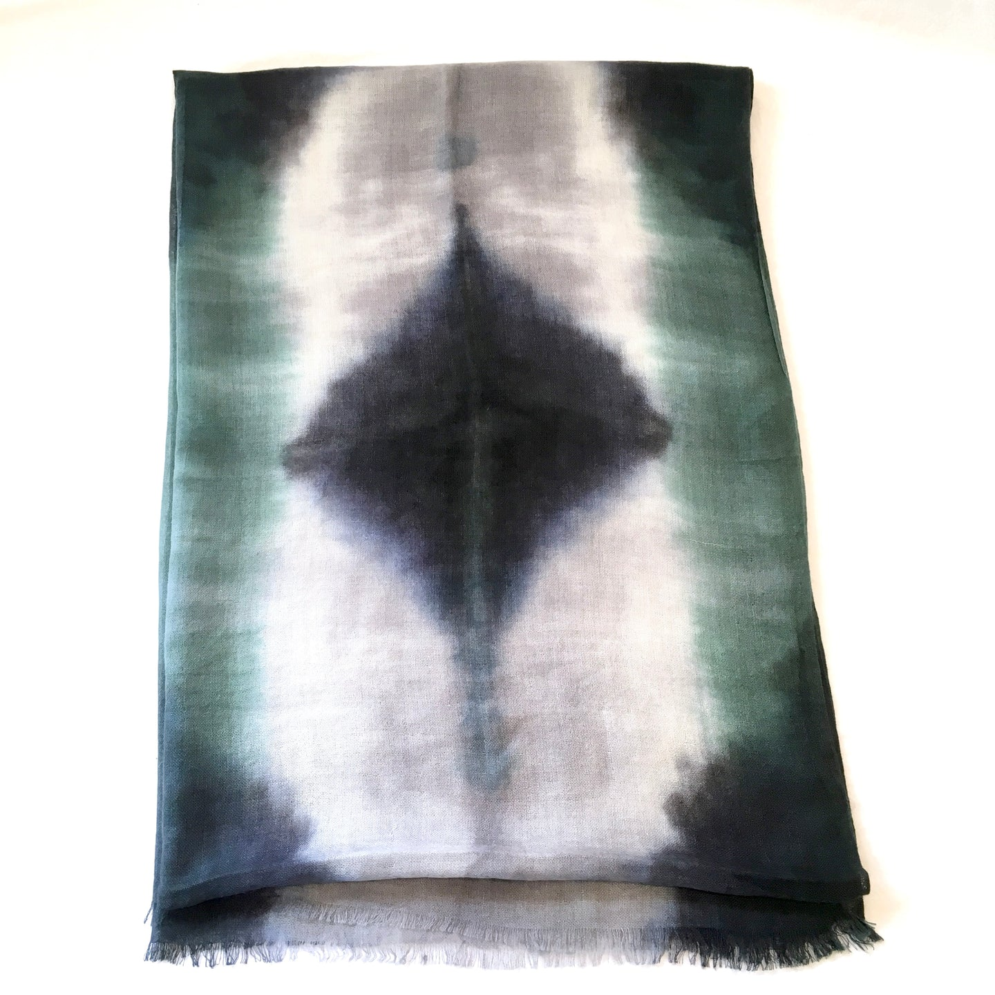 Scarf Spree: Hand Dyed Forest Green & Black Cashmere Silk Scarf 24x80