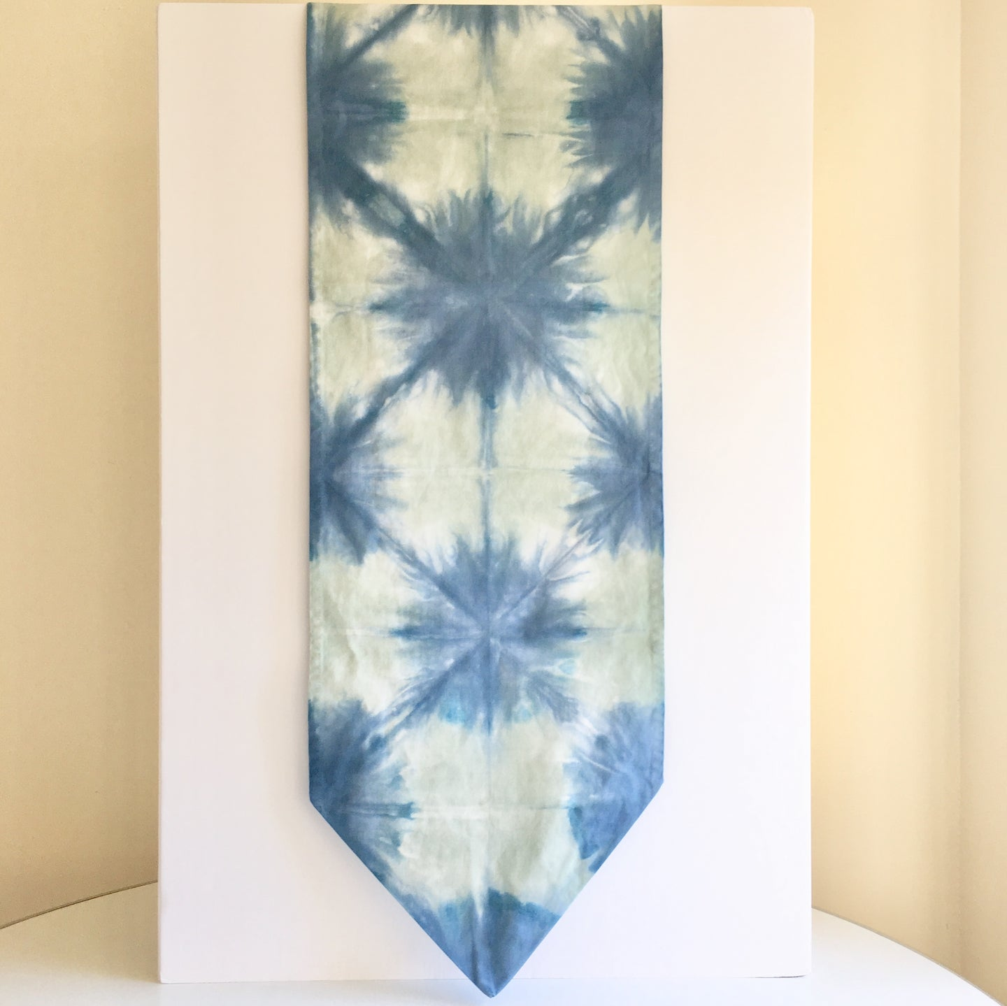 Scarf Spree: Hand Dyed Indigo & Mint Green Cotton Table Runner