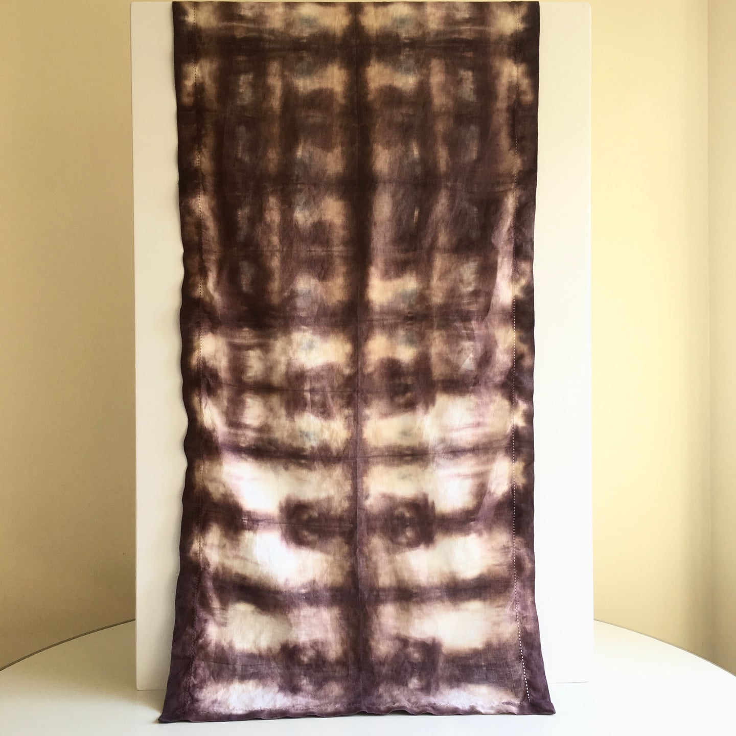 Scarf Spree: Hand Dyed Maroon & Tan Linen Table Runner