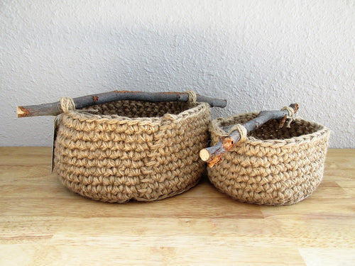 Natural Basket with Branch Handle