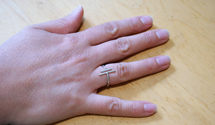 Judith Poe: (W) Silver H-Bar Ring