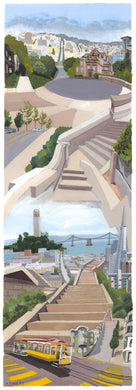 Secret Stairways: Meredith Moles: Ina Coolbrith Park, Russian Hill (print)