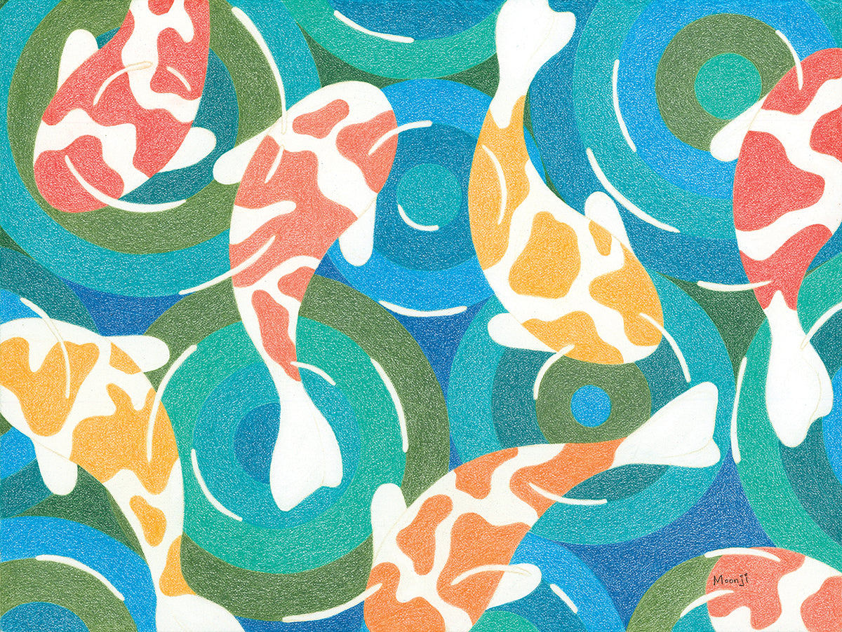 Moonji Pickering: Print - Koi Fish Pond