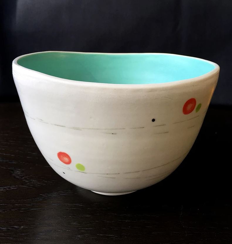Tomoko Jarrell: Pink and Green Dots Bowl