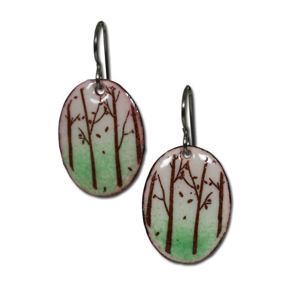 Michele Dodge:(S) Oval Earrings - Forest