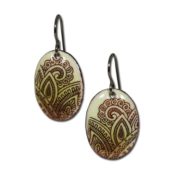 Michele Dodge:(S) Oval Earrings - Henna