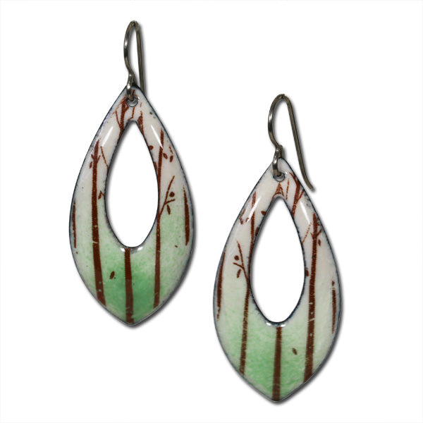 Michele Dodge:(S) Large Drop Earrings - Forest