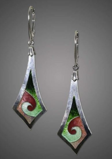 Michele Dodge: Earrings-Green & Pink