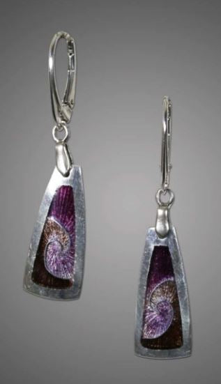 Michele Dodge: Earrings-Purple & Brown