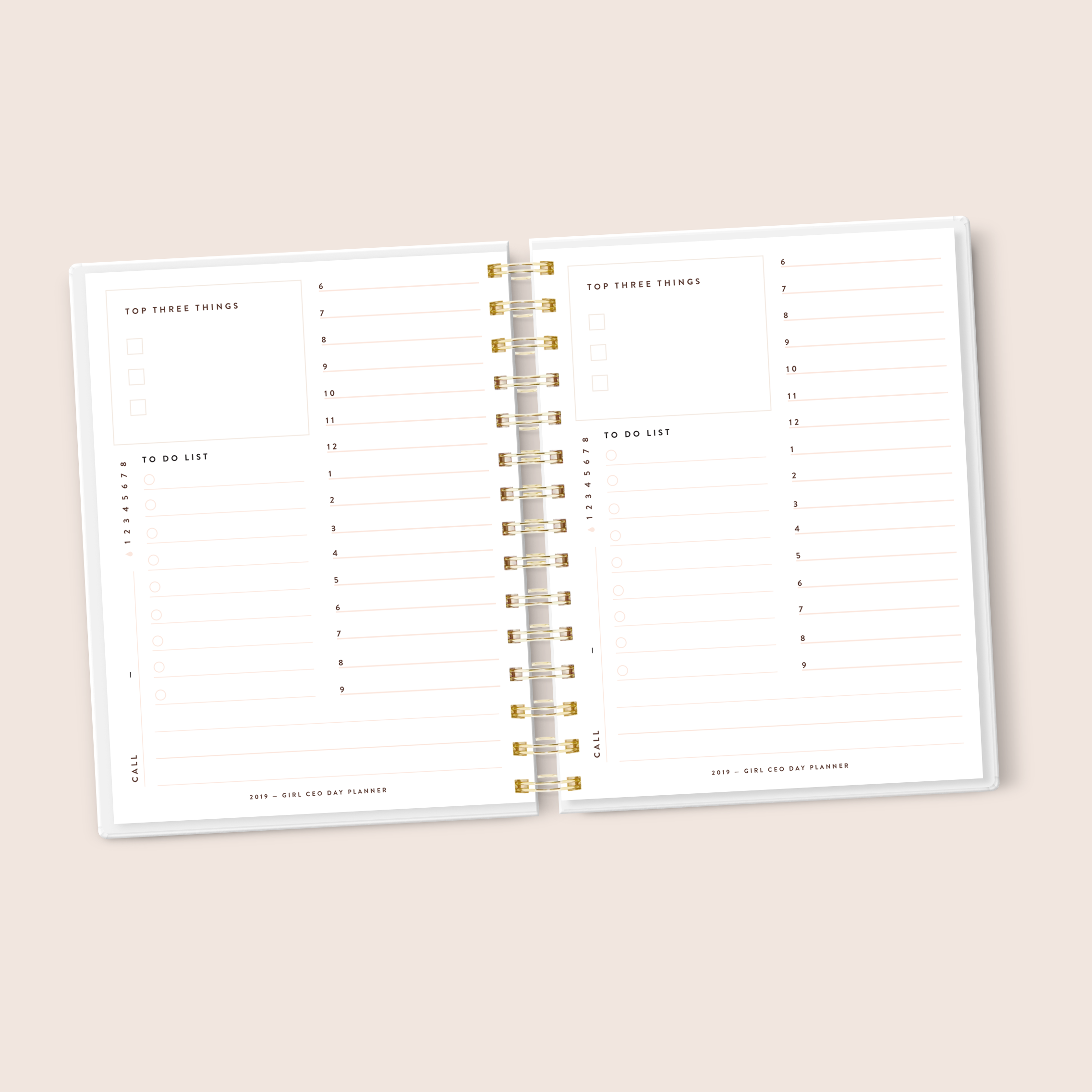 Dateless Marble Girl CEO Professional Daily Planner- Pink Marble
