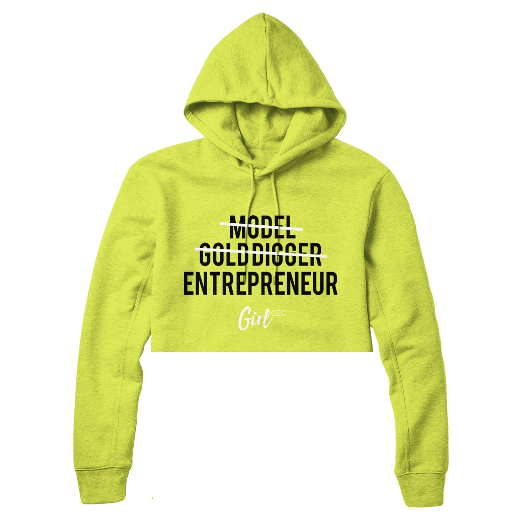 Cropped Classic Girl CEO Hoodie Neon Green Limited Edition