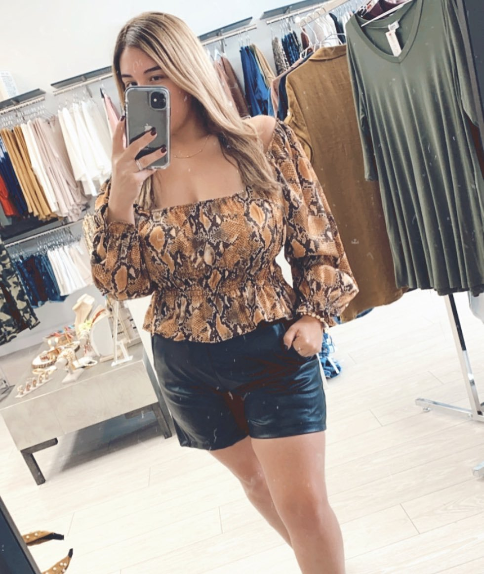 Snake Print Off-shoulder Top