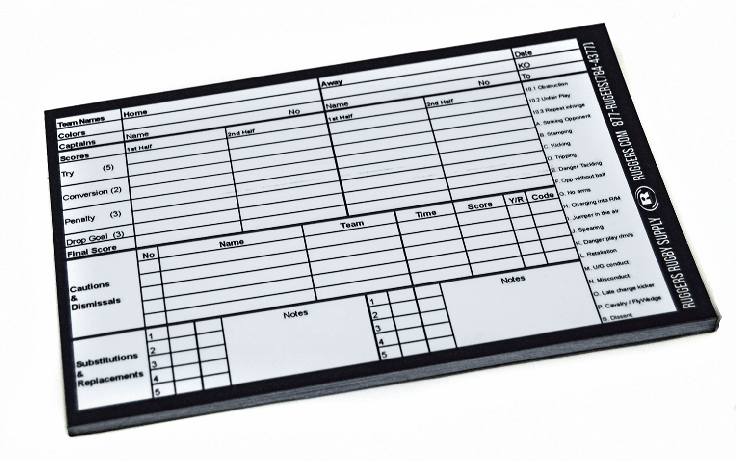 Accessories - Ruggers Rugby Referee Scoring Pad