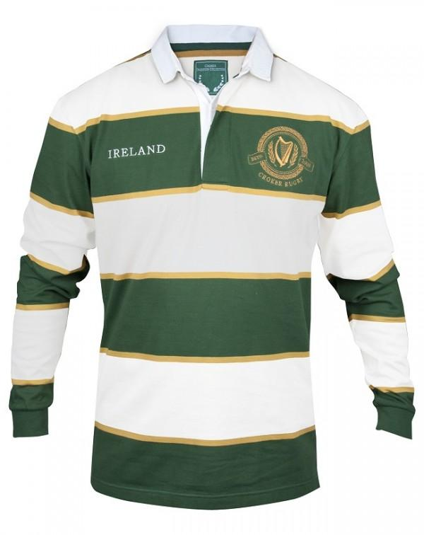 Pitchside - Croker Green & White Striped Ireland Rugby Jersey