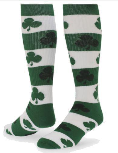 Sock - Rugby Striped Blarney Clover Knee High Sock