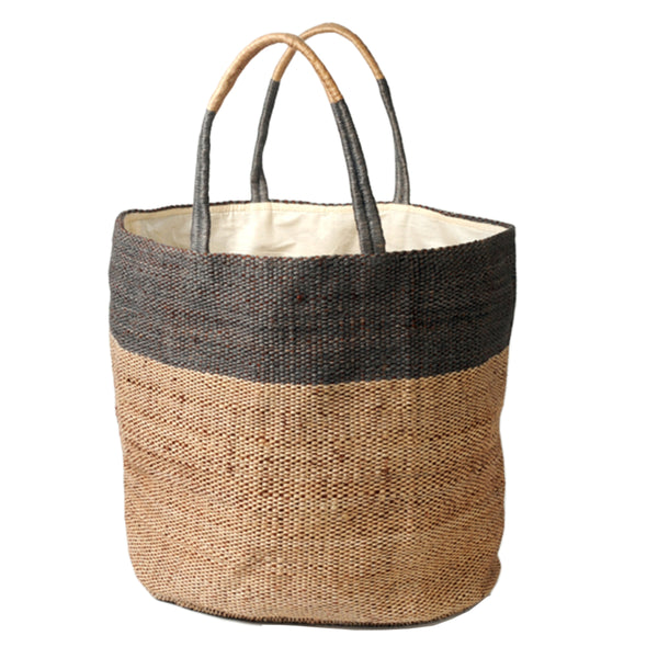 Two tone woven jute bag (grey)