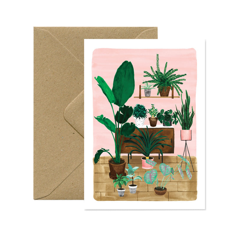 Living room plants card